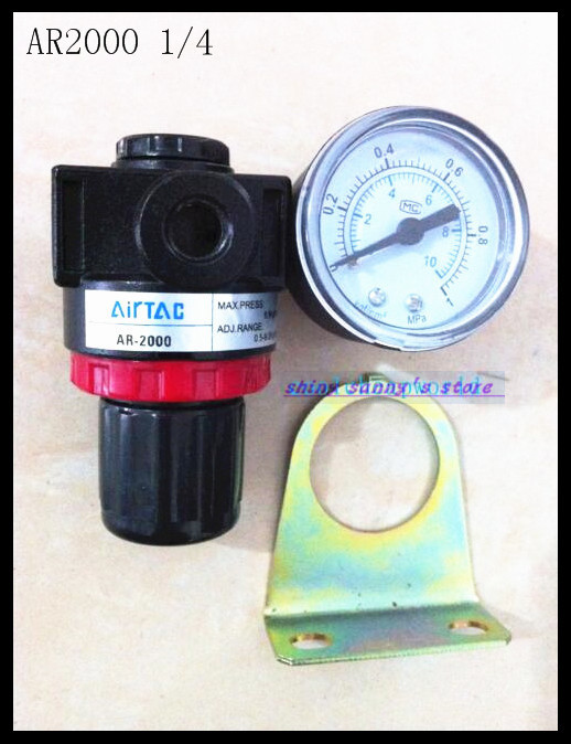 1Pcs AR2000 PT 1/4 Air Control Compressor Pressure Relief Regulating Regulator Valve 1pc air compressor pressure regulator valve air control pressure gauge relief regulator 75x40x40mm