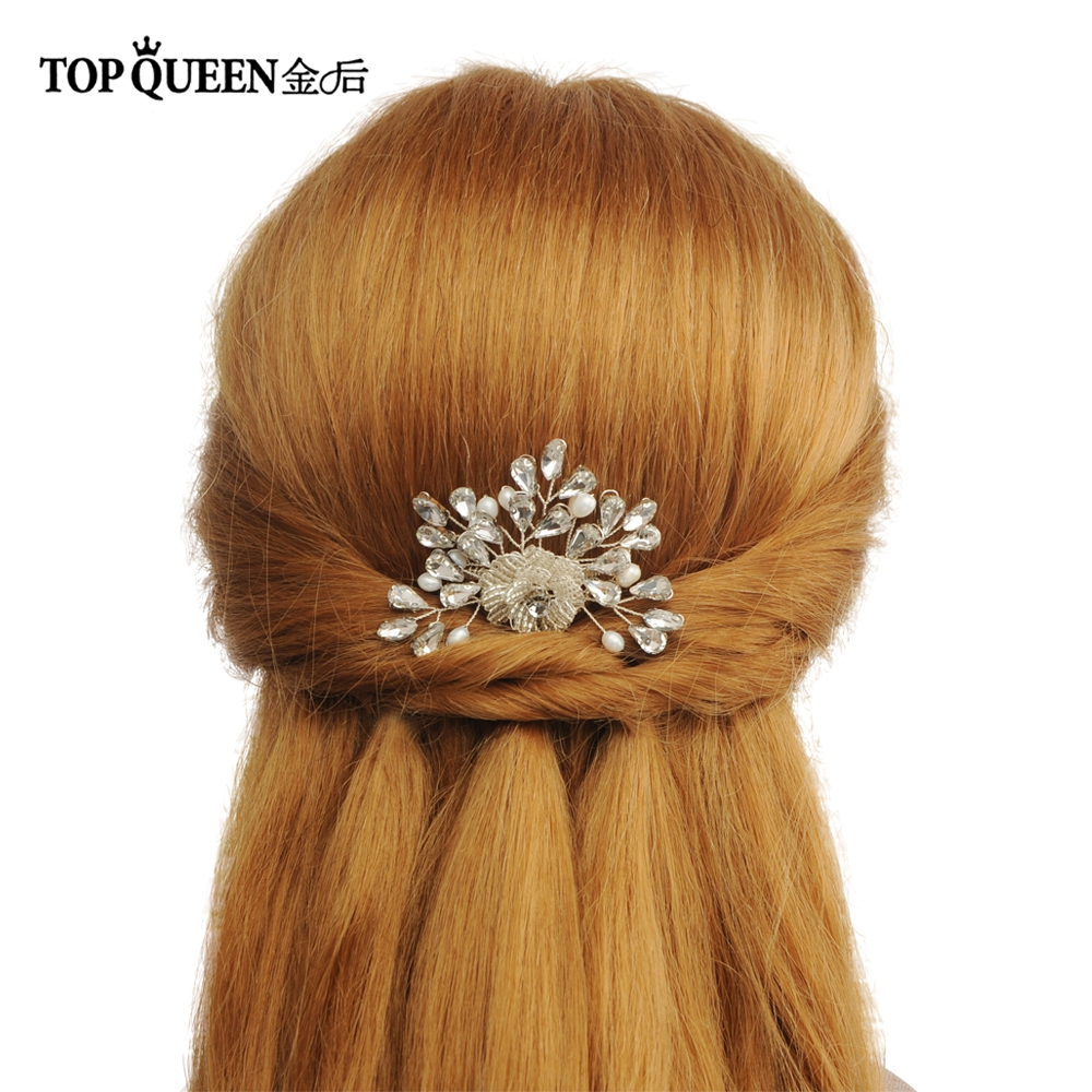 TOPQUEEN HP170 Bridal Comb Handmade Rhinestone Pearl Bridal Hair Comb Headdresses Girlfriend Hair Accessories For Women Wedding