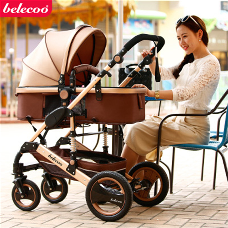 Free Shipping Belecoo High landscape Luxury Baby Stroller 0 36 Months Stroller Inflatable Natural Rubber Wheel
