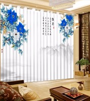 3D Curtains Chinese Style window curtains flowers living room decoration