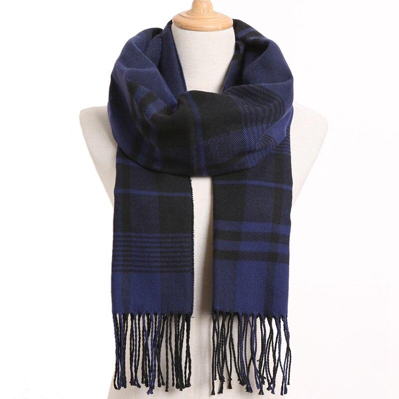 [VIANOSI] клетчатый зимний шарф женский тёплый платок одноцветные шарфы модные шарфы на каждый день кашемировые шарфы - Цвет: 47