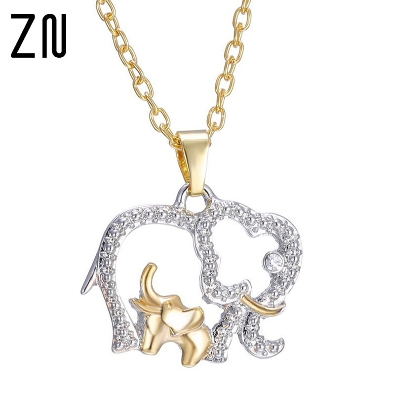 Mother's Day Gift Cubic Zirconia Elephant Necklace Mom Love Baby Charm Pendant Necklaces PN4373 32HLxfeJ8