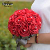 Kyunovia Silk Rose Bridesmaids Bouquet Artificial Flower Bouquets with Rhinestones Centerpiece Flowers Red Wedding Bouquet FE50