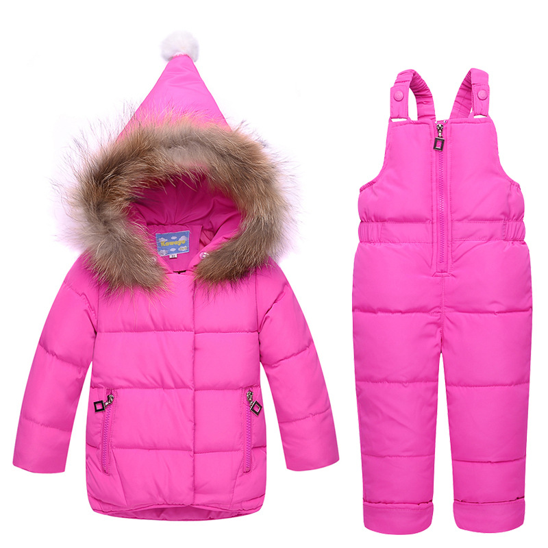 Baby girls 2 pcs winter clothing set=jacekt+overall baby girl boy down suits toddler parkas sets kids outdoor wear 12M-3TBaby girls 2 pcs winter clothing set=jacekt+overall baby girl boy down suits toddler parkas sets kids outdoor wear 12M-3T