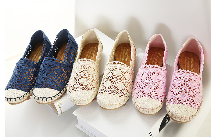 Size 35-39 New fashion Lace Loafers Women Shoes 2015 Spring Casual Flats Summer Driving shoes Pink Apricot Blue Rose 7401 - Fashion store