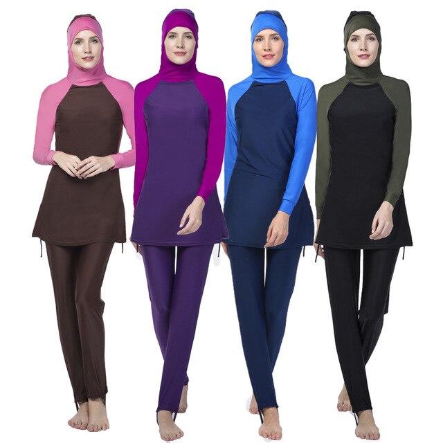 fb8df961b5c muslim swimsuit female Islamic swimwear full coverage women bathing suits  plus size tankini muslim long sleeve swimsuits modest