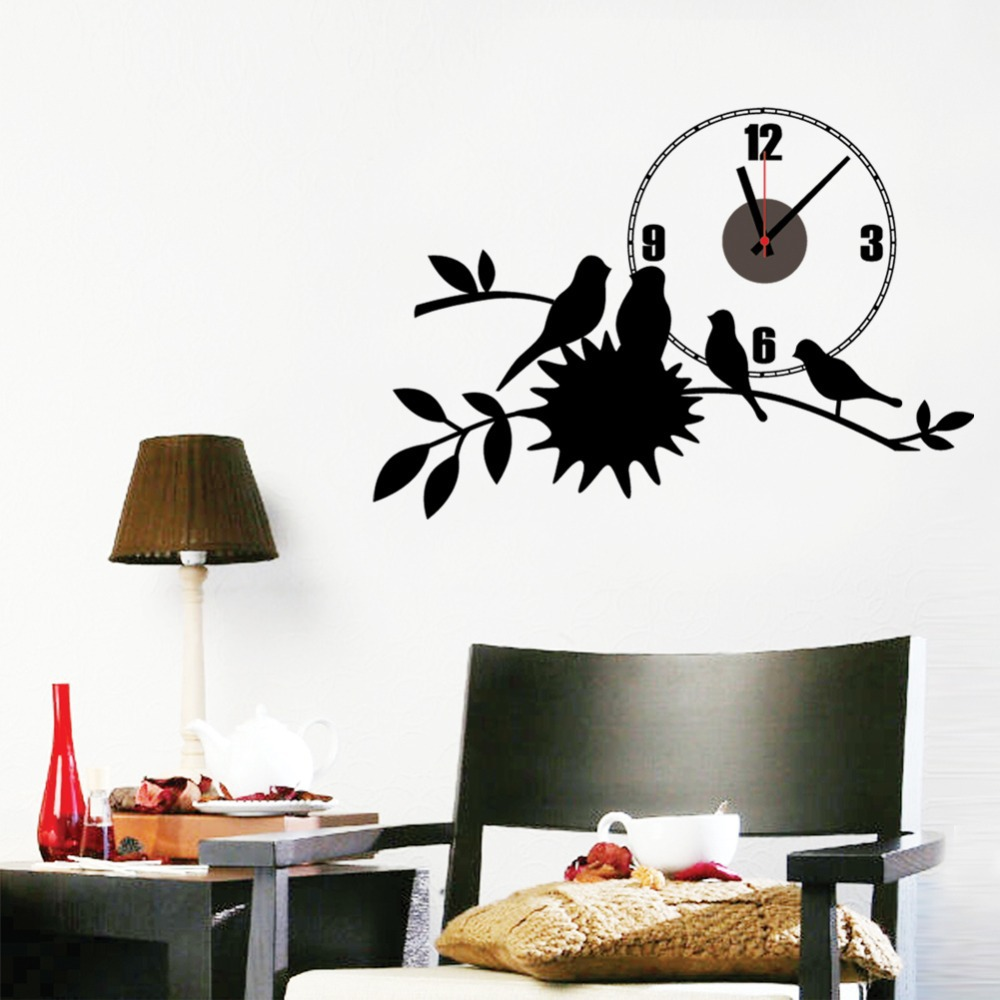 popular wall clock brands buy cheap wall clock brands lots from diy classic zooyoo brand simple electronic battery clocks with birds wall clock wall sticker home decor