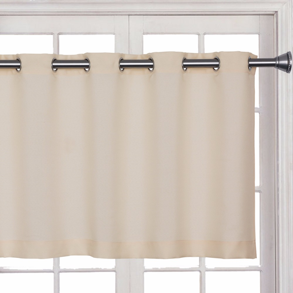 Cafe curtains for bathroom - Candy Solid Blue Gray Short Blackout Curtain 2017 New Iron Ring Tube Curtain Kitchen Cafe Decorative