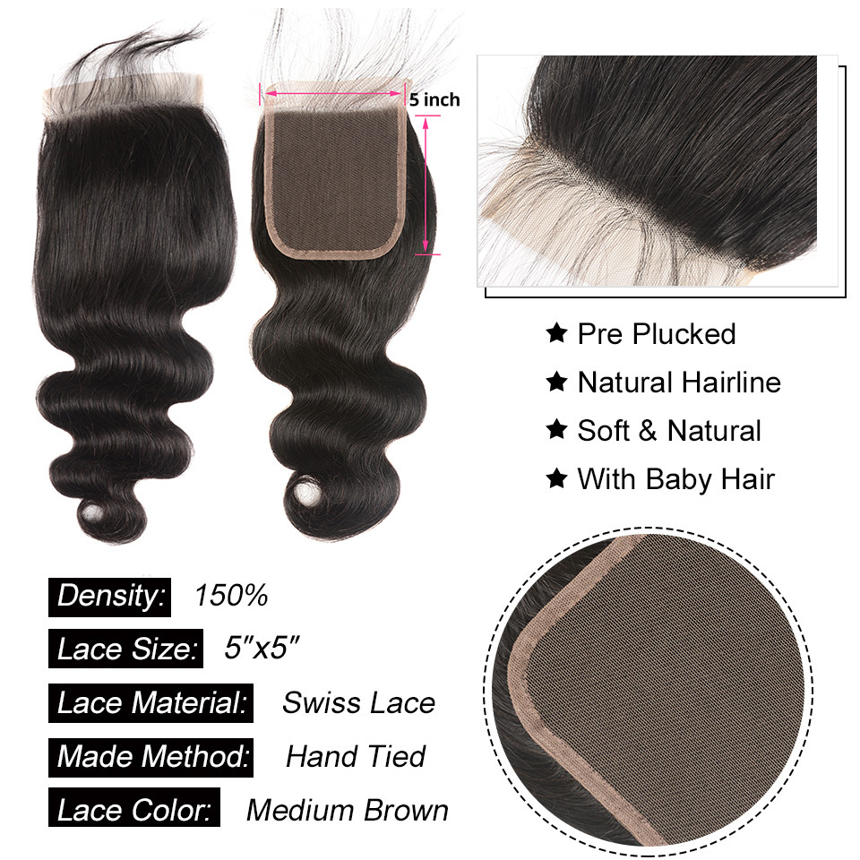 AliPearl Hair Body Wave Bundles With 5x5 Closure Free Part Brazilian Hair Weave 5x5 Closure With AliPearl Hair Body Wave Bundles With 5x5 Closure Free Part Brazilian Hair Weave 5x5 Closure With 3 Bundles Remy Natural Black