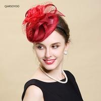 2017 Paris Red Sinamay Fascinator Hair Bands Elegant Ladies Sinamay Floral Hat Headband Wedding Party Derby Hair Accessories