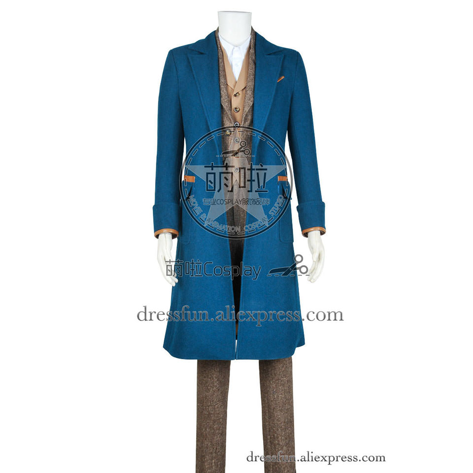Fantastic Beasts and Where to Find Them Newt Scamander Cosplay Costume Wool Version Blue Trench Coat Halloween Fast Shipping