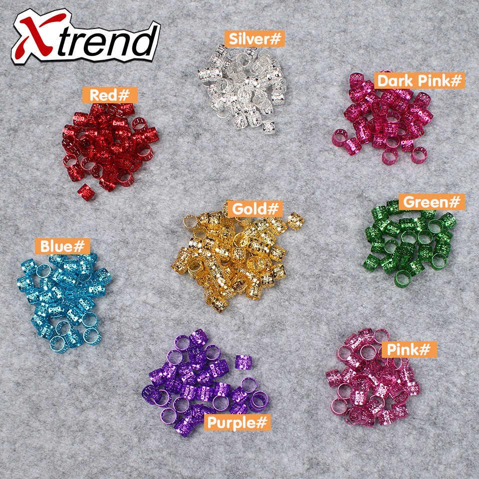 Xtrend модные золотые серебряные разноцветные бусины дредлок Алюминиевые Металлические Регулируемые кольца для волос для девочек и женщин 400 шт/lotLinks & кольцо