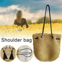 Bohemian Straw Shoulder Bag Tote Vacation Fashion Summer Beach Handbag Hand Woven Women Bags Tassel Pouch Bag Ladies Handbags недорого
