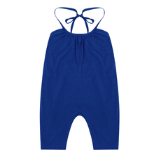 Baby Girl Summer Overalls Toddler Kids Strap Rompers Jumpsuit Solid Blue Harem Pants Trousers