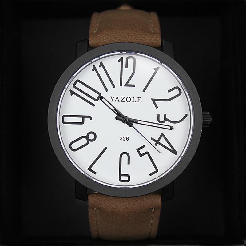 YAZOLE women watches Luxury Brand Leather Clock big numbers round dial black Waterproof Casual Sport Wrist Quartz female watch