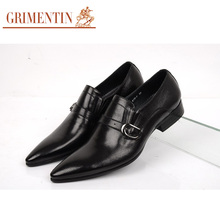 GRIMENINT Fashion genuine leather mens dress  pointed toe casual shoes