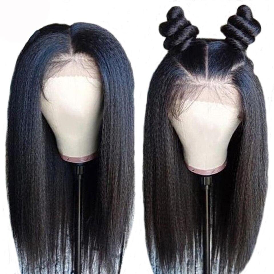 Alijasmine Pre pluck Lace Front Wigs 8 24 inch Yaki Straight Brazilian Remy Human Hair Lace
