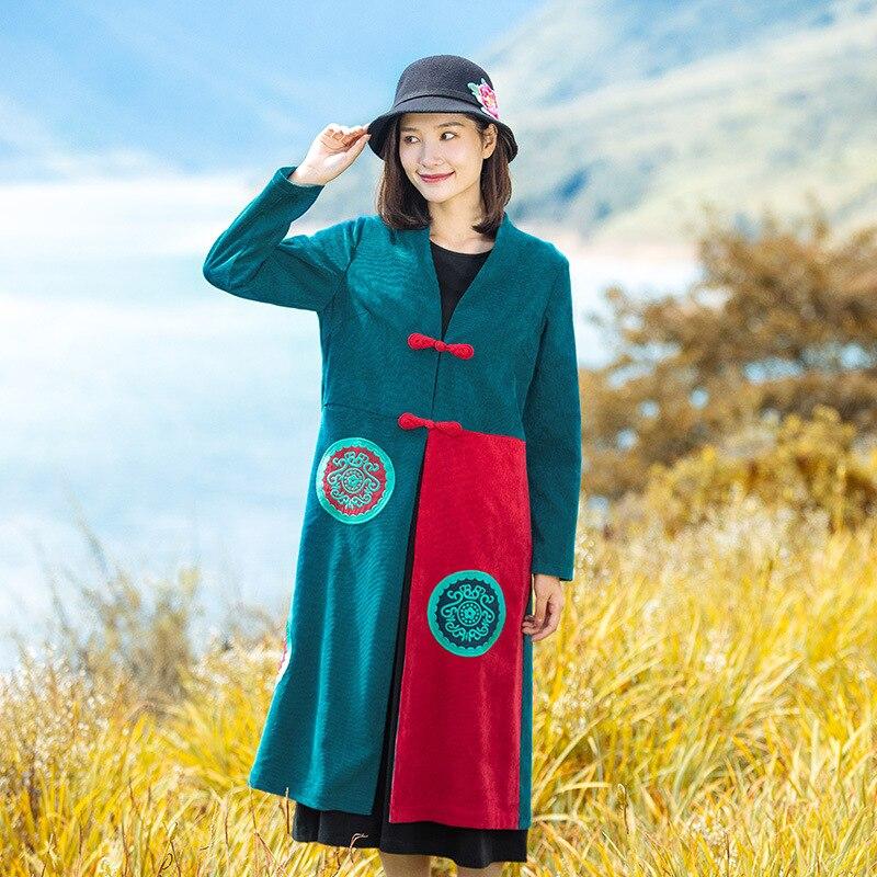 Cappotto Coste Femminile Velluto Autunno Pulsante Tratto Di Lungo Nuove Delle Nazionale Retrò Donne A Vento Piatto Ricamato Verde Giacca fC1nZaxfq