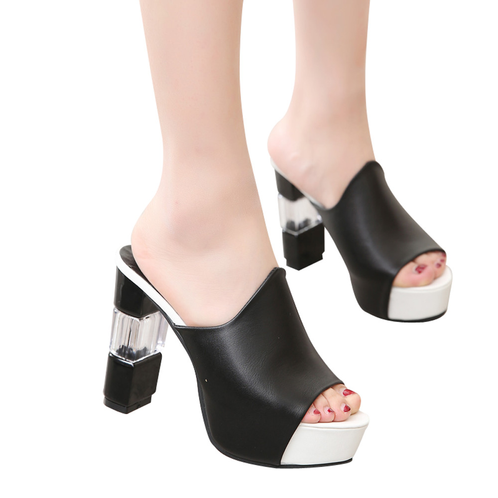 Nuovo Tacco Toe rosso bianco Di Pantofole 2019 Nero Sandali Alto Spessore Donna Z0108 Fashion Estate Open Il Cuneo Inferiore dnnz7qT4