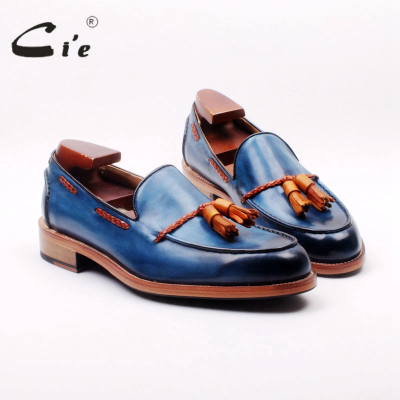 Ci'e cuir de veau pleine fleur sur mesure goodyear welted mélangé bleu/marron glands faits à la main sans lacet hommes chaussure bateau mocassin 166
