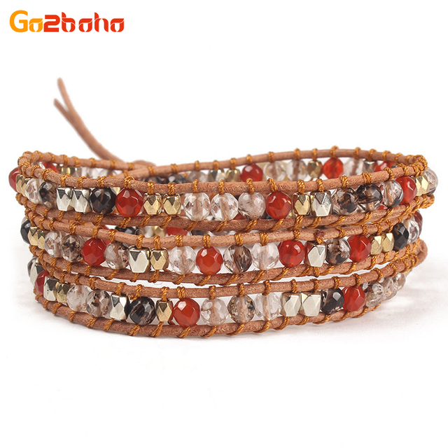 Go2boho Multilayer Colorful Beads Wrap Bracelet Men Women Natural Stone Beaded Leather Jewelry Charms