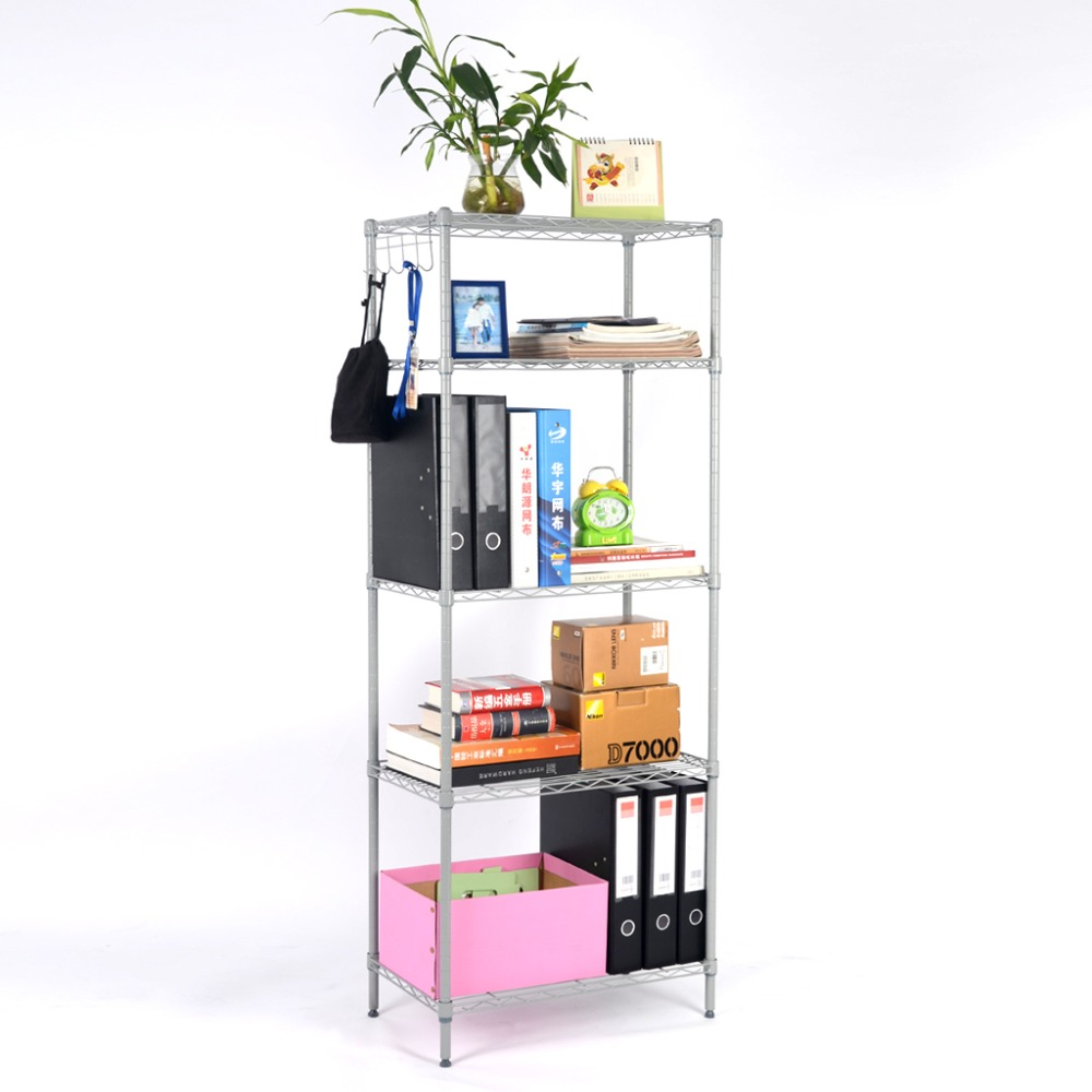 langria 5 tier classic metal wire storage rack shelving. Black Bedroom Furniture Sets. Home Design Ideas