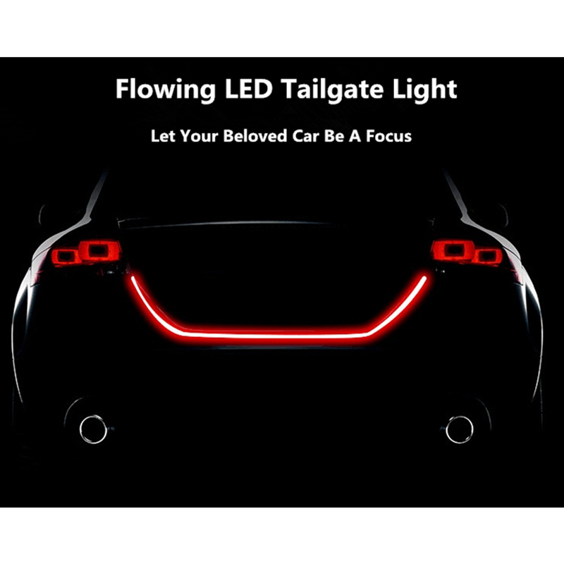 Car Dual Color Flowing Type LED Rear Trunk Light Strip Auto Brake Running Tailgate Light Dynamic Streamer Turn Signal Tail Light blue red white yellow led strip tail streamer brake turn signal warning lighting car styling dynamic streamer drl tail lights