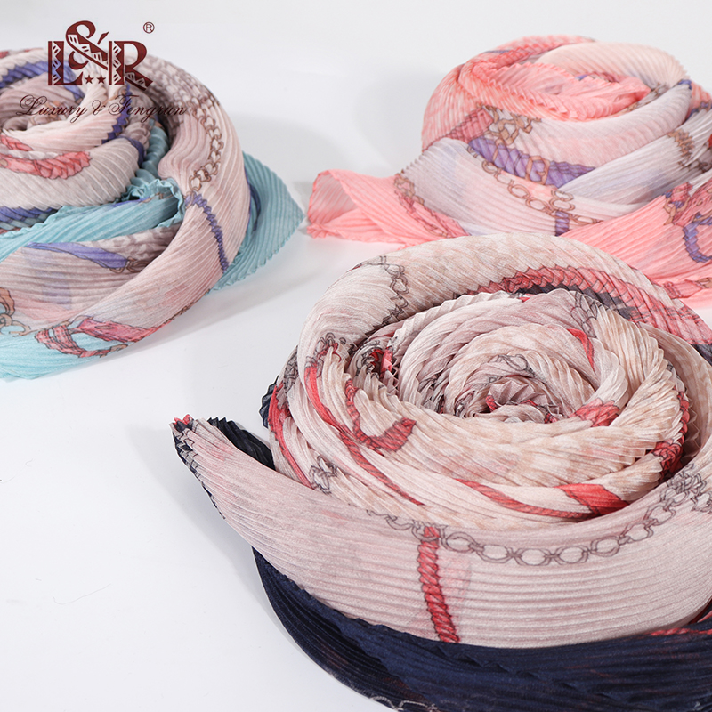 Summer Silk Scarfs for Women 2019 Chiffon Woman Shawls and Scarves For Beach Floral Crinkle Ployester Sunscreen Scarf Hijab|Women