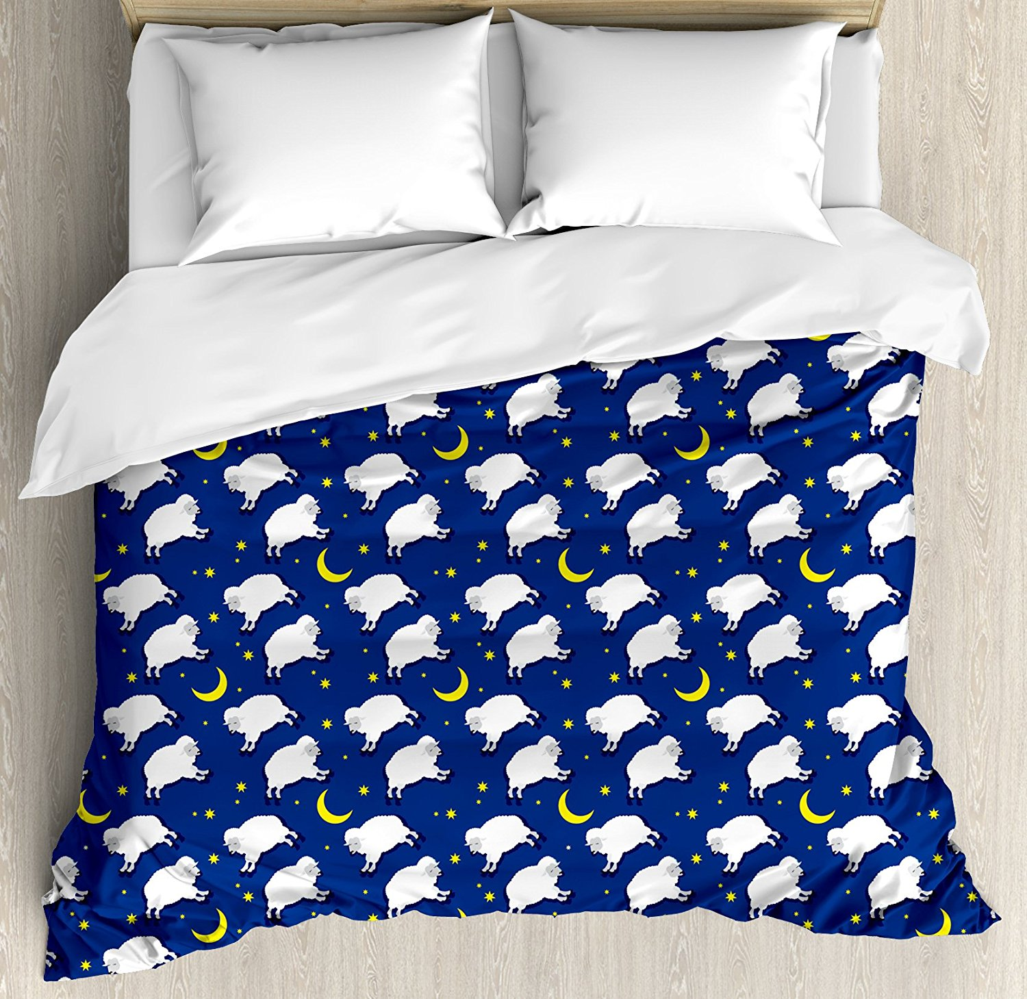 Duvet Cover Set, Cute Sleeping Lambs Pattern with Crescent Moon and Stars Bed Children Print, 4 Piece Bedding Set
