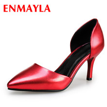 Airfour New Style Summer High Heel Dress Pumps 4 Colors Pointed toe Thin Women Solid Slip on Fashion Big Size
