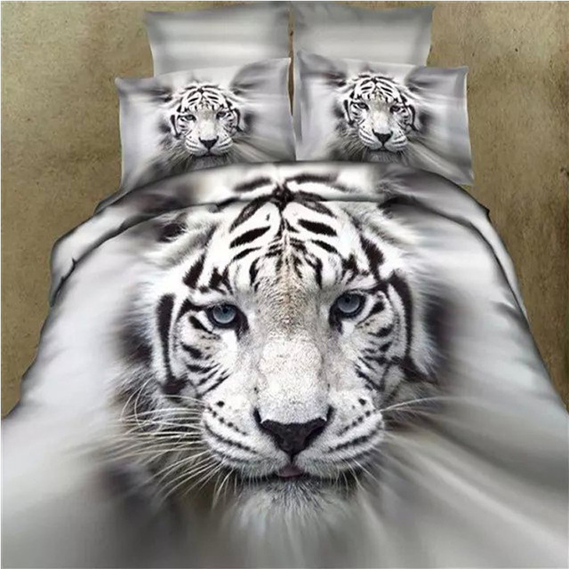 Unique 3D Animal White Tiger Bedding Set Queen King Size Duvet Cover ...