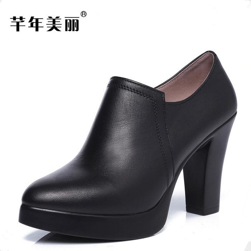 2018 new big yards 40-43 yards high heels female black Crude heel Office&Work shoes Small code 32-34 Women Shoes pumps sandals genuine leather new woman s shoes high heel 10cm platform 1cm female summer small yards small yards eur size 34 39 page 5