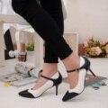 Nueva Primavera Moda Mujeres OL Zapatos de Vestir de Mujer Sexy Bombas Zapato con cierre de Punta estrecha Tacones Altos Negro Blanco Costura SMYCN-B0042