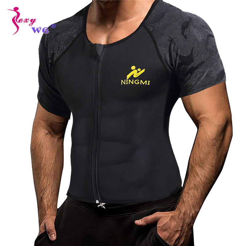 SEXYWG Sport Top Slimming Waist Trainer Neoprene Sauna Vest Weight Loss Body Shaper Yoga Shirt With Zip Mesh Tank Top Shapewear