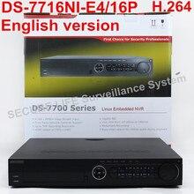 Envío libre DS-7716NI-E4/16 P versión Inglés 16CH NVR con 4 SATA y 16 POE, salida VGA HDMI, alarma Plug & play NVR hasta 6MP