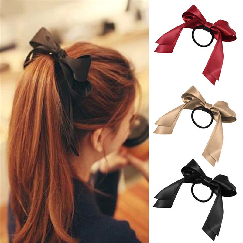 1pcs2018 Kvinner Tiara Satin Ribbon Bow Hair Band Rope Scrunchie Hestehale Holder Gum For Hair Tilbehør Frisyre Jente Hodetelefoner