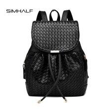 Simhalf Мода Кожаный Рюкзак Женщины Сумка Элегантный Дизайн Винтажные ткань школьные сумки рюкзаки для девочек-подростков Mochilas черный мешок