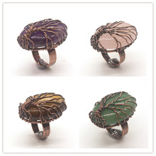 Trendy-beads Copper Wire Wrap Tree of Life Many Color Oval Shape Stone Quartz Ring For Anniversary Jewelry