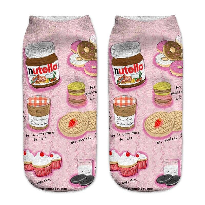 New Cute cartoon food 3D printing   socks   Funny Snack Donuts Nutella   Socks   Unisex sox Chaussettes femmes