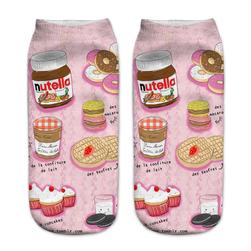 New Cute Cartoon Food 3D Printing Socks Funny Snack Donuts Nutella Socks Unisex Sox Chaussettes Femmes