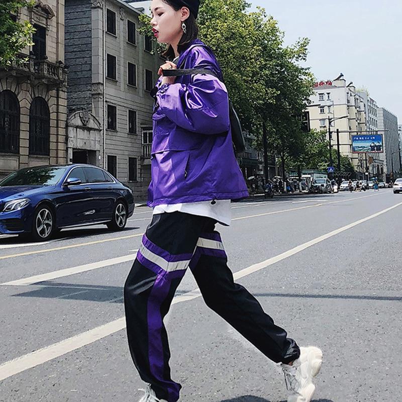 Deux Pulls Élastique Lâche Féminine Occasionnel Long Pièces Mode La De Maille Costumes Automne Rayé Pantalon Q882 Violet Ensemble Dames Printemps Taille xwWOXPTx