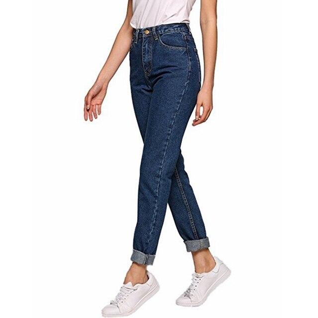 Vintage ladies boyfriend jeans for women mom high waisted jeans blue casual pencil trousers korean streetwear denim pants 4