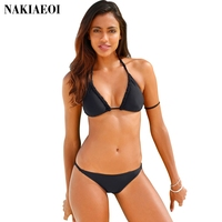NAKIAEOI 2017 Sexy Handmade Crochet Bikini Women Swimsuit Swimwear Push Up Bikini Set Halter Bathing Suit