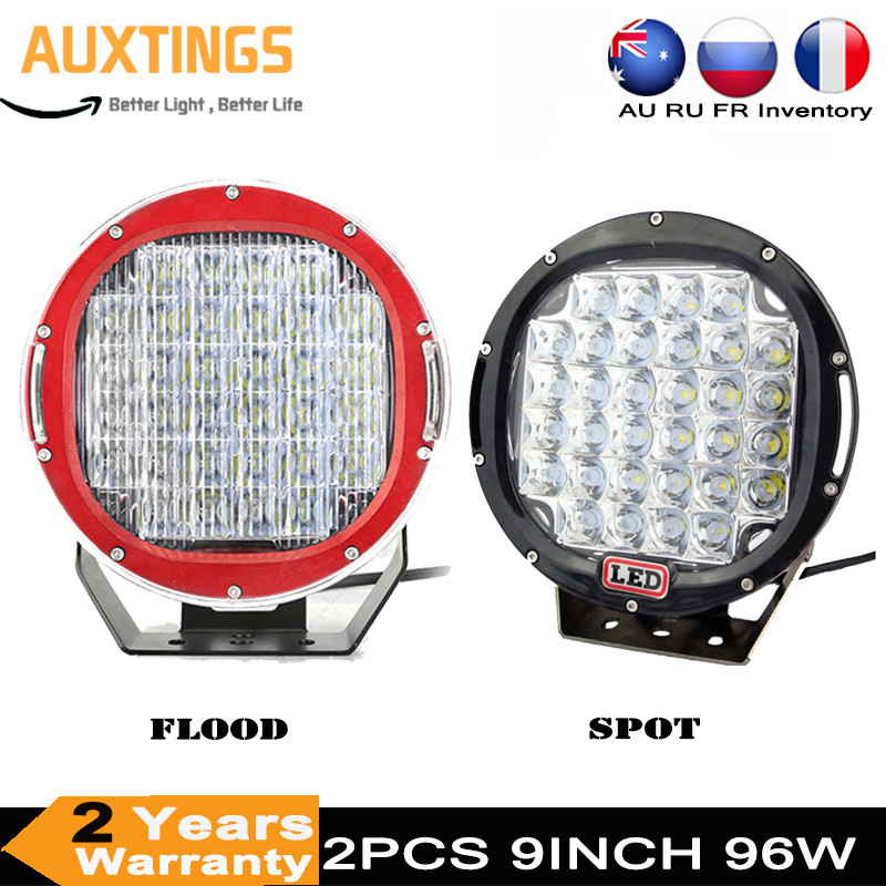 2pc 9inch 96W LED Work Driving Lights Spot Flood Off road Led Lights Bar 4WD 4x4