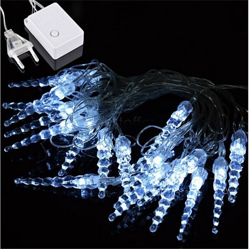 New 4m 20LED Icicle String Light Christmas Home Wedding Xmas Party Decoration Snowing Curtain Light And EU Plug