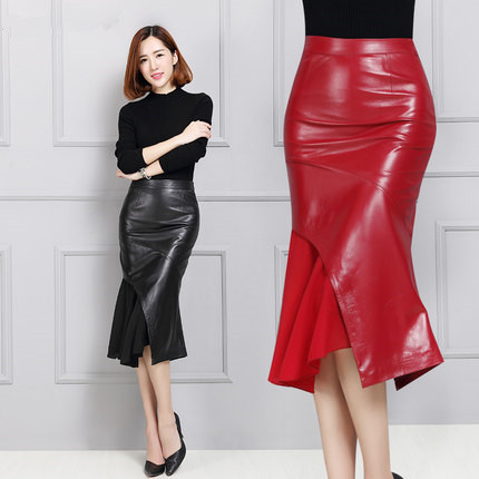 Women sheepskin medium-long leather skirt