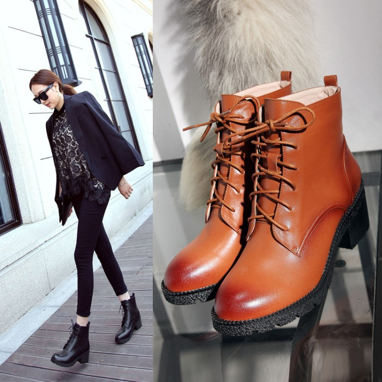 Women's Shoes Fall And Winter Casual Fashion Comfort Round Cross Straps Retro Platform Chunky Heels Ankle Boots High Quality