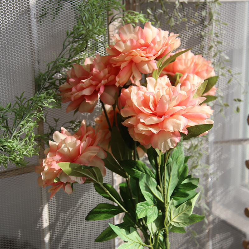 53cm 5 Heads 4 Colors Artificial Flowers European Silk Daisy Flower Wedding Favors For Home Garden Wedding Party Diy Decoration 50% OFF Home & Garden