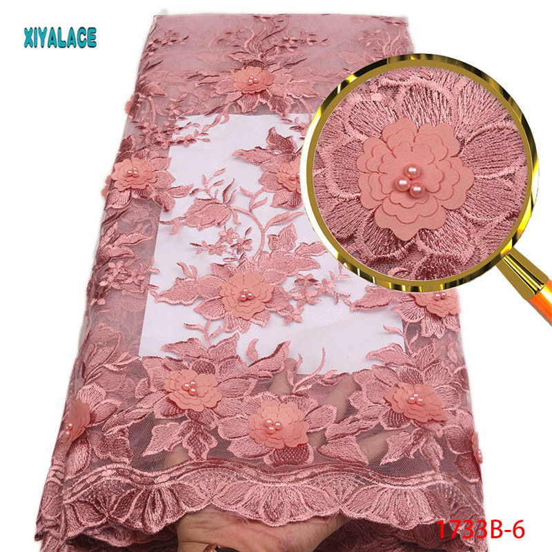 French Lace Fabric Beads Nigerian French Lace Fabric 3d Flowers Embroidered Tulle African peach Lace Fabric