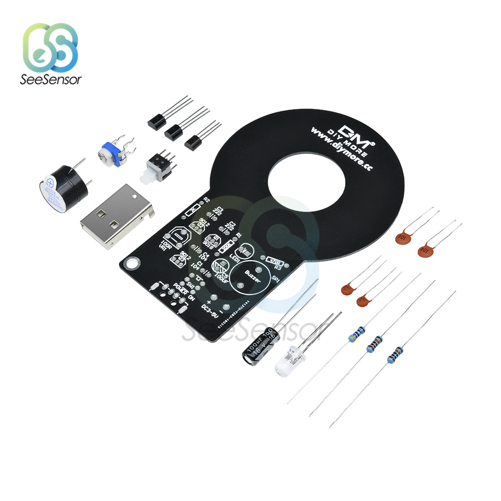 DIY Kit Metal Detector Kit DC 3V-5V 60mm Detective Non-contact Sensor Board Module 18650 USB Power Bank Box Electronic Kit